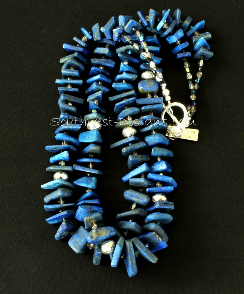 Lapis Long Chip 2-Strand Necklace with Czech Glass and Sterling Silver