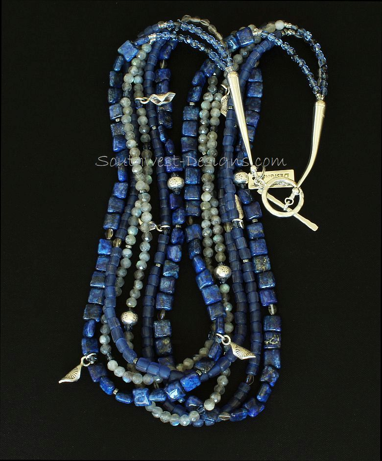 Lapis, Indonesian Glass and Labradorite 6-Strand Necklace with Sterling Silver