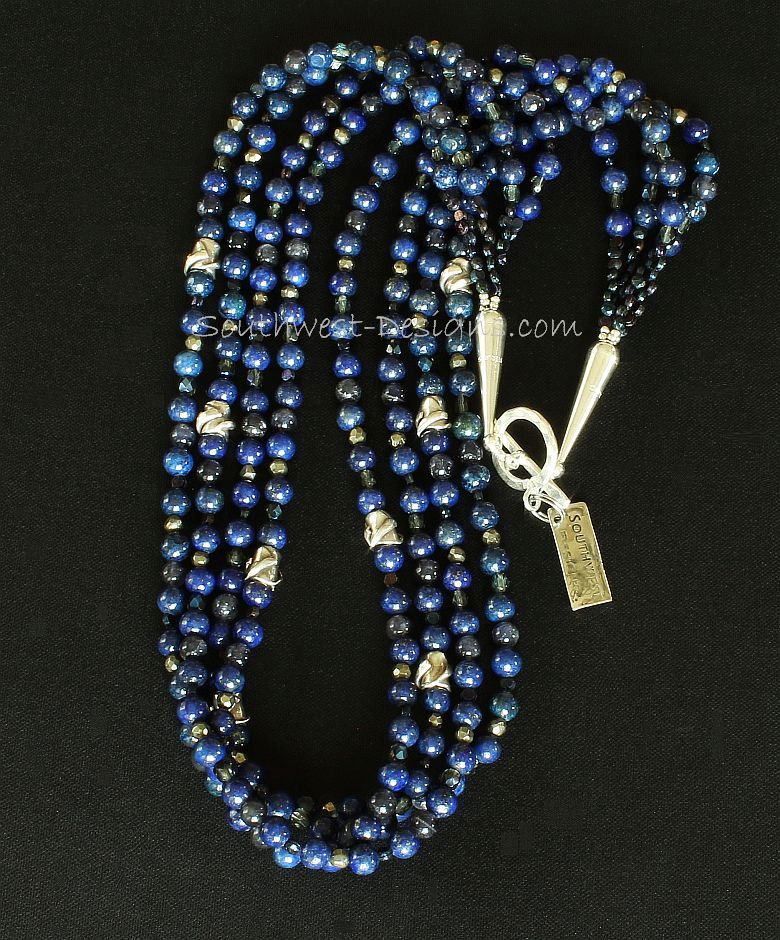 Lapis and Iolite 4-Strand Necklace with Antique Czech Nailheads, Fire Polished Glass, Pyrite Nuggets, and Sterling Silver Beads, Cones & Toggle Clasp
