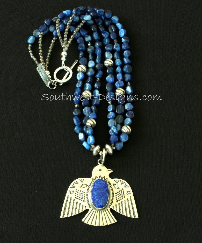 Lapis and Sterling Silver Thunderbird Pendant with Fire Polished Glass and Sterling Silver