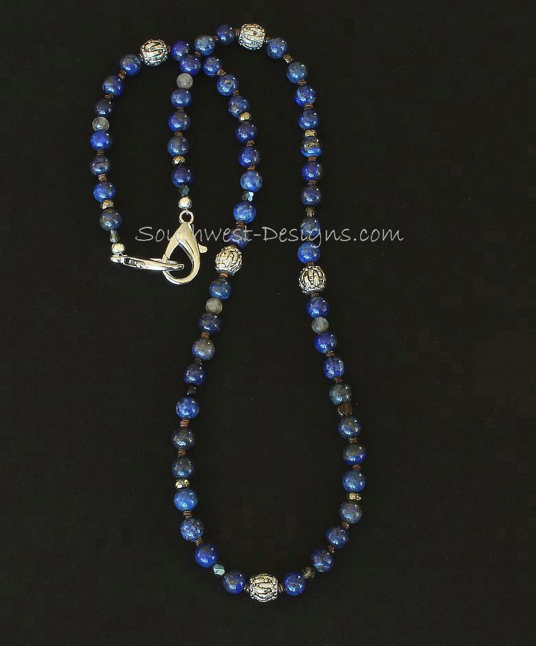 Lapis Rounds Mask Lanyard with Czech Glass, Pyrite and Ornate Plated Silver