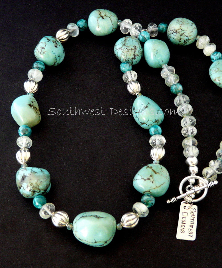 Turquoise Nugget Necklace with Sleeping Beauty Jasper, Crystal Glass and Sterling Silver