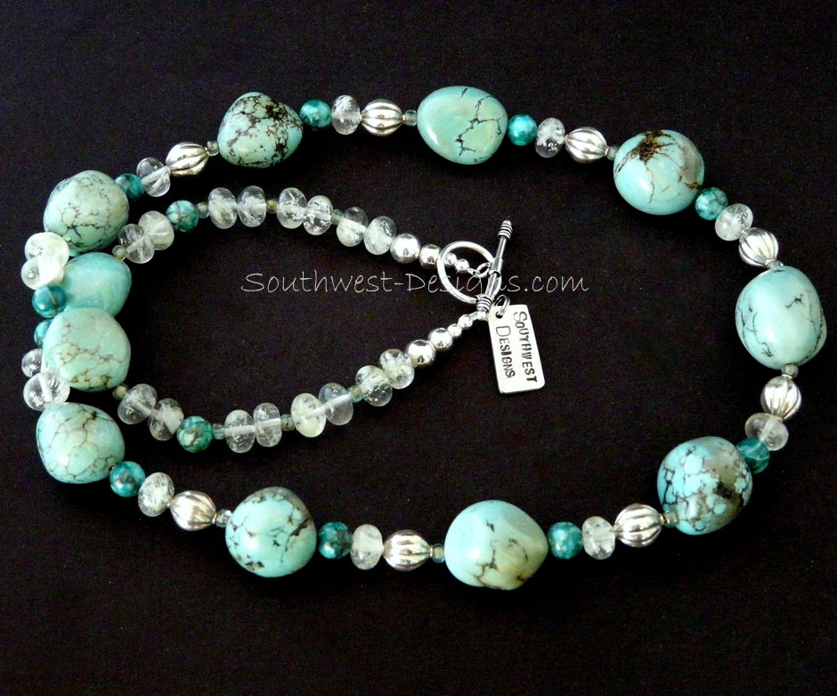 Turquoise Large Nugget Necklace with Sleeping Beauty Jasper, Crystal Rondelles, Fire Polished Glass and Sterling Silver