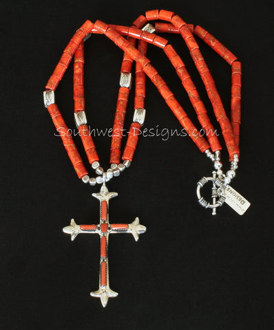 Coral and Sterling Silver Cross Pendant with 2 Strands of Apple Coral Cylinders and Ornate Sterling Silver