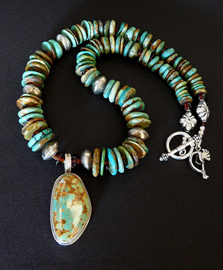 Turquoise & Sterling Pendant with Turquoise Graduated Round Disc, Amber, Coin Silver & Sterling