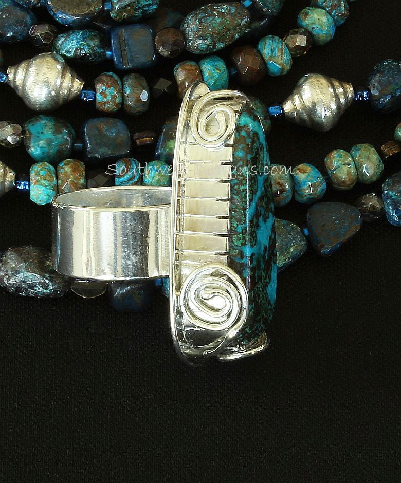 Malachite Chrysocolla and Sterling Silver Band Ring with Sterling Wire Scrolls