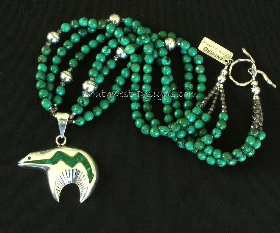 Sterling Silver and Malachite Inlay Heartline Bear Pendant with 3 Strands of Turquoise Rounds, Fire Polished Glass, and Sterling Silver Beads and Toggle Clasp
