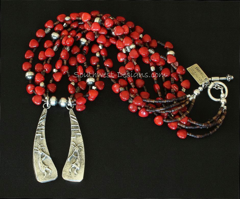 Merle House Sterling Tufa Cast Pendants with 4 Strands of Bamboo Coral and Sterling