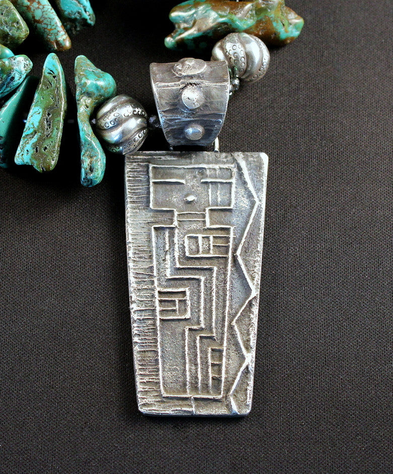 Tufa Cast Sterling Silver Pendant with Graduated Turquoise Nuggets, Czech Firepolished Glass, Pen Shell Heishi and Sterling Silver
