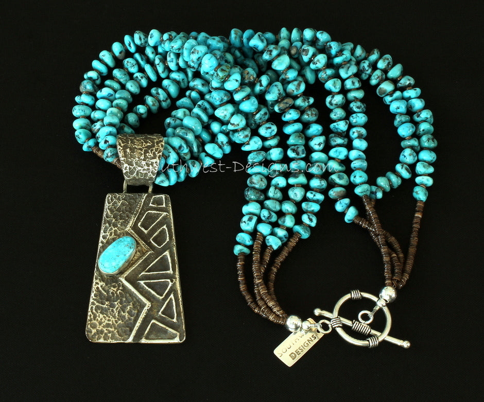 Merle House Tufa Cast Turquoise & Sterling Pendant with 4 Strands of Turquoise Nuggets and Sterling