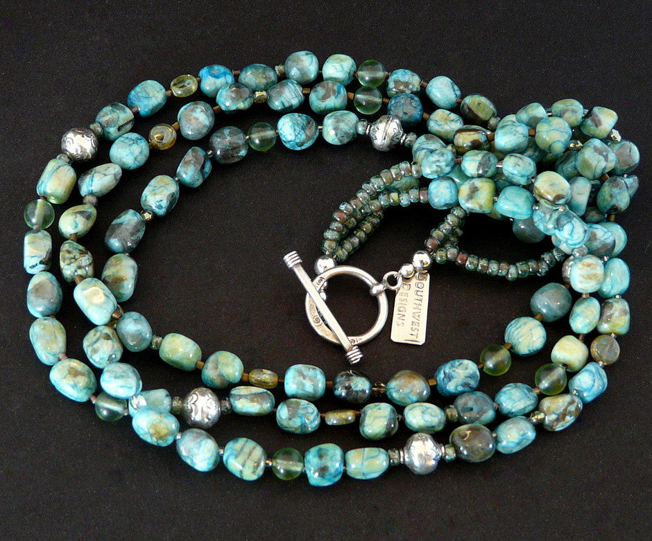 Mexican Turquoise 3-Strand Necklace with Sterling Silver