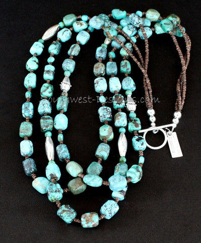 Box Cut Pilot Mountain Turquoise 3-Strand Necklace with Olive Shell Heishi and Ornate Sterling Silver
