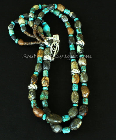 Miss Moffett Fossilized Clams and Turquoise 2-Strand Necklace with Olive Shell Heishi and Ornate Sterling