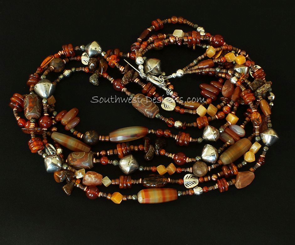 Mixed Amber and Carnelian 4-Strand Necklace with Painted Jade, Marble, Amber Quartz and Sterling