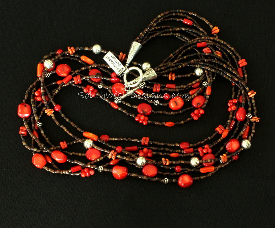 Mixed Coral, Spiny Oyster Shell and Pen Shell Heishi Necklace with Sterling Silver