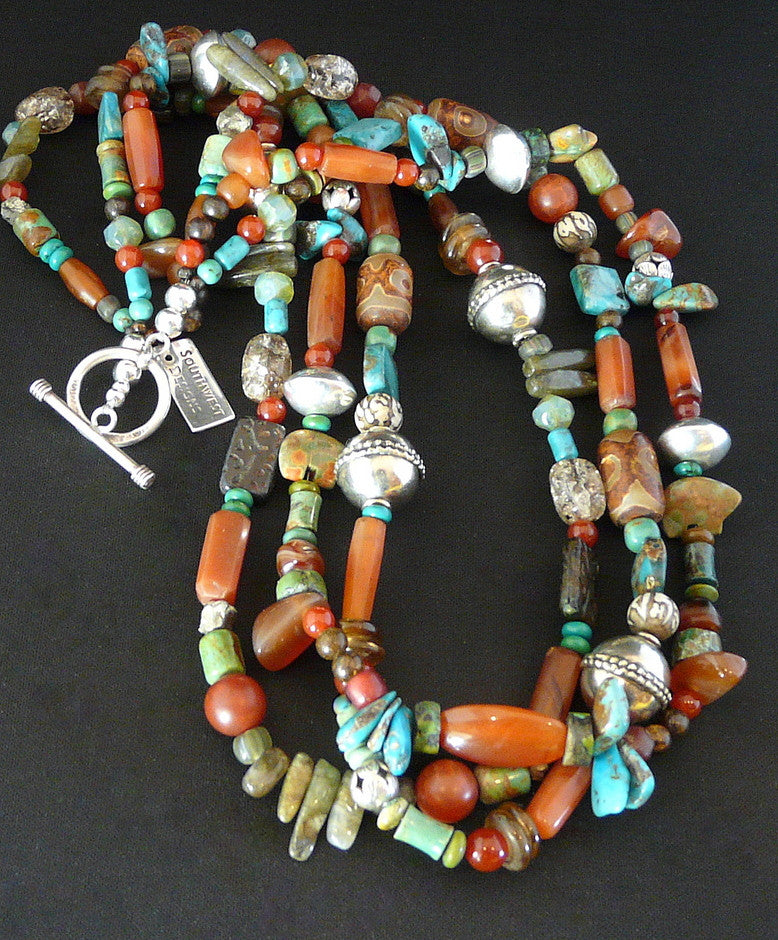 Mixed Gemstone 3-Strand Necklace with Sterling Silver