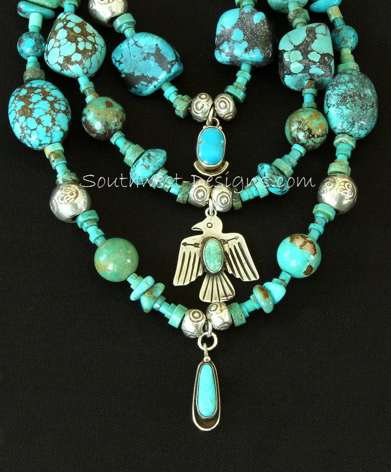 Mixed Turquoise 3-Strand Necklace with Vintage Turquoise and Sterling Silver Charms, Hill Tribe Silver and Sterling Silver