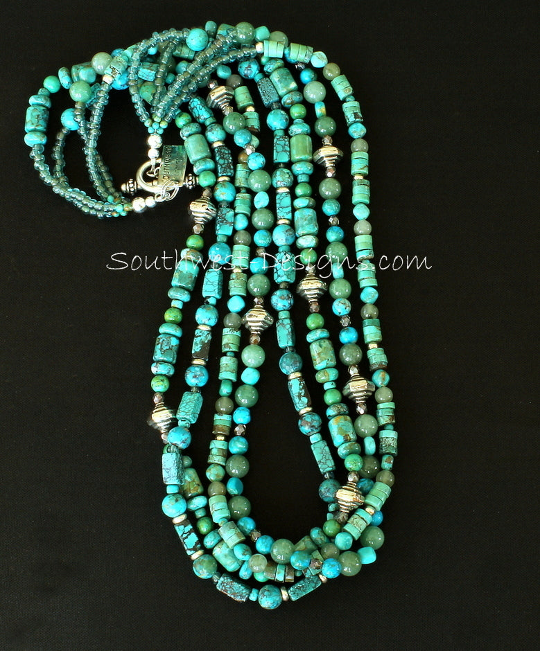 Mixed Turquoise 4-Strand Necklace with Indonesian Glass and Sterling Silver
