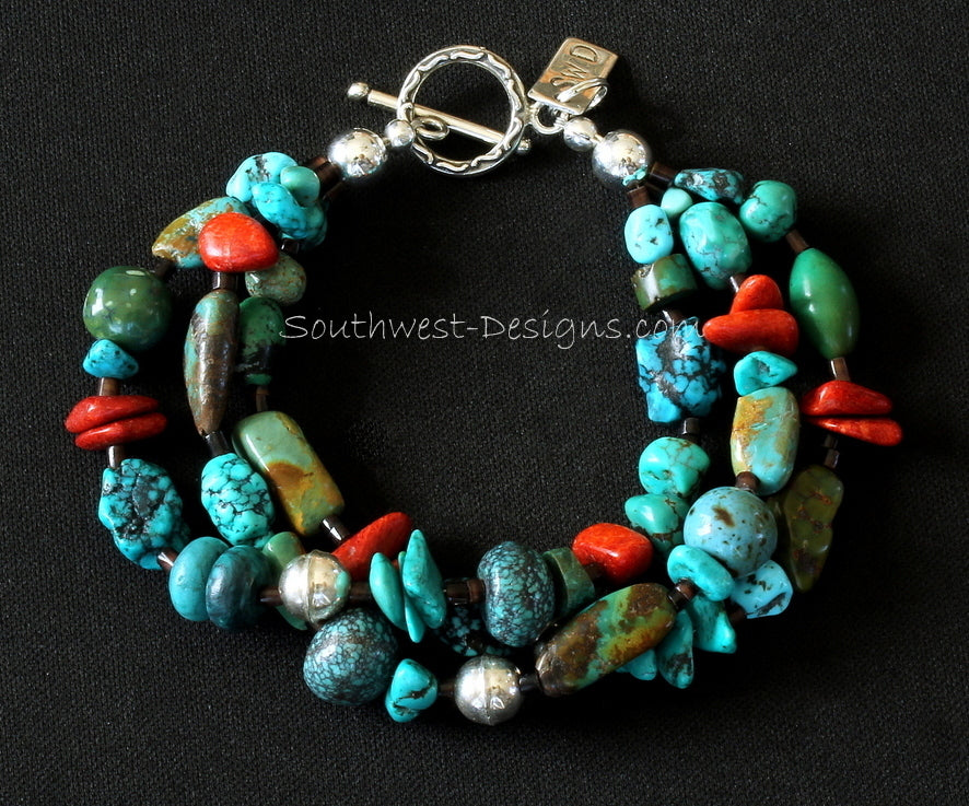 Mixed Turquoise 3-Strand Bracelet with Coral Nuggets, Pen Shell Heishi and Sterling Silver