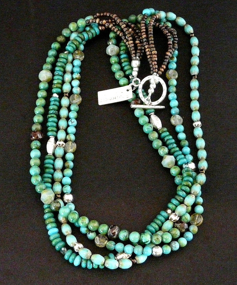 Turquoise, Czech Glass and Sterling Silver Necklace
