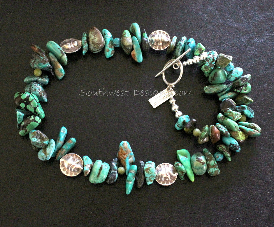Mixed Turquoise Nuggets with Hill Tribe Silver Elephant Coin Beads