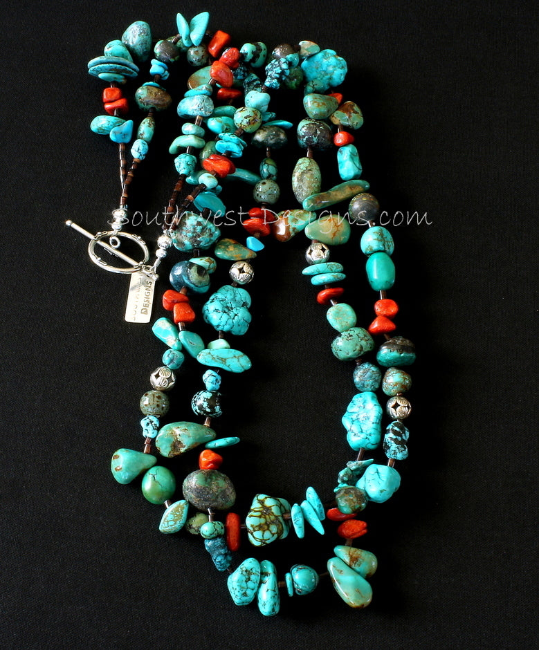 Mixed Turquoise 2-Strand Necklace with Coral, Pen Shell Heishi and Sterling Silver