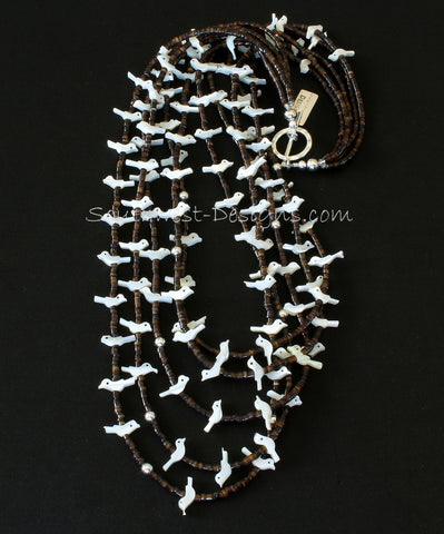 5-Strand Mother of Pearl Bird Fetish Necklace with Pen Shell Heishi and Sterling Silver