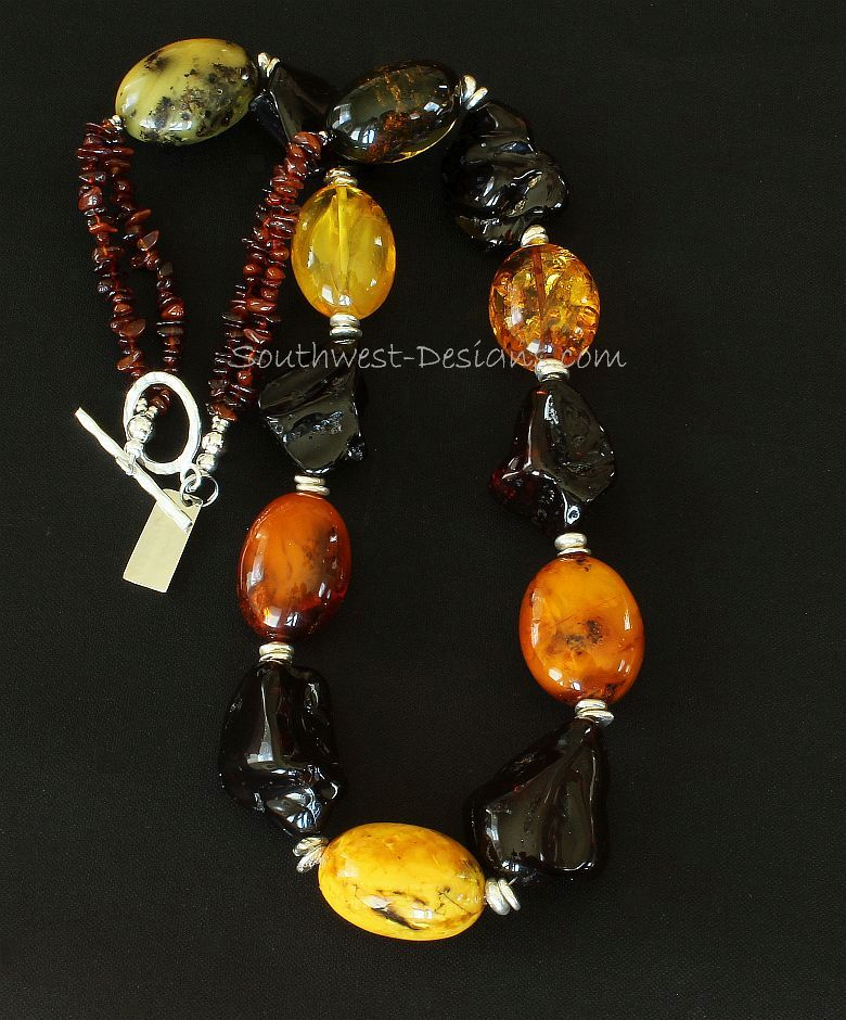 Multi-Hued Amber Oval and Nugget Necklace with Amber Chip and Sterling Silver