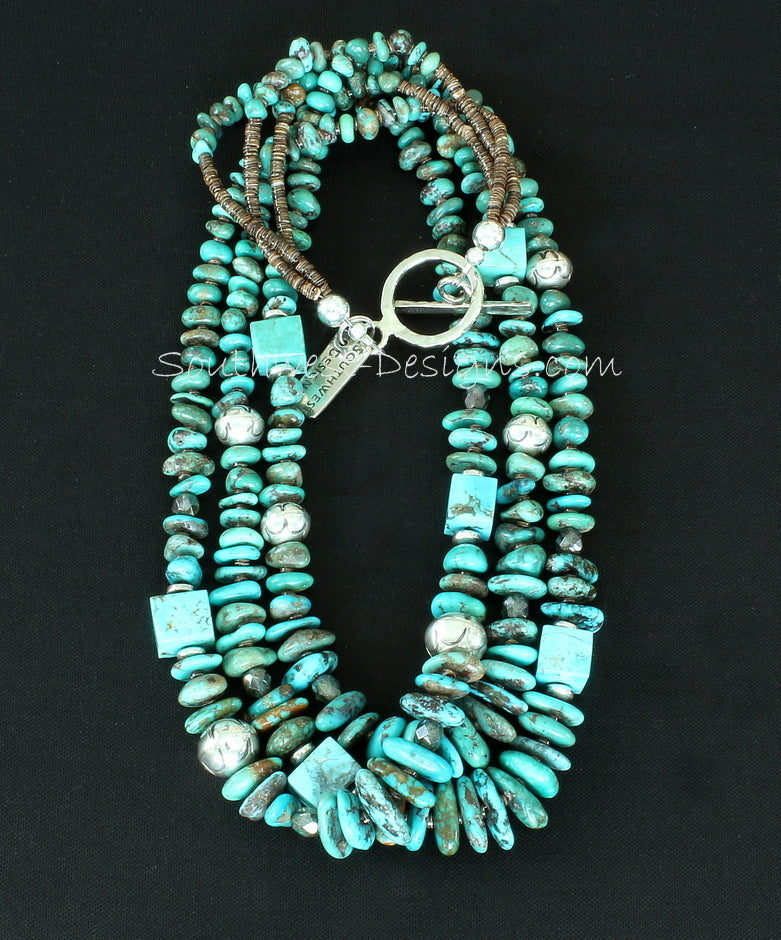 Nevada Turquoise Nugget 3-Strand Necklace with Kingman Turquoise Cubes, Fire Polished Glass and Stamped Sterling Silver