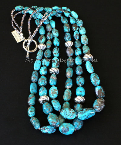 Nevada Turquoise Graduated Ovals 3-Strand Necklace with Olive Shell Heishi and Sterling Silver