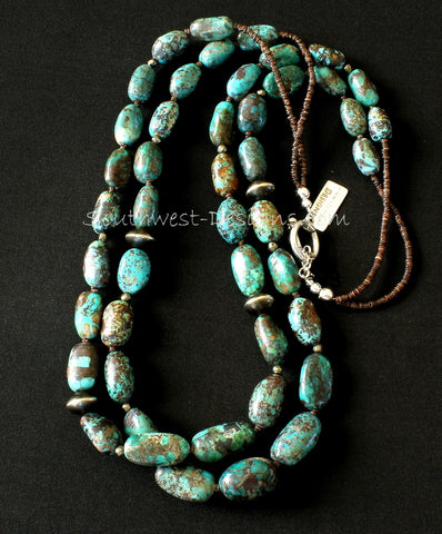 Nevada Turquoise Ovals 2-Strand Necklace with Pyrite, Olive Shell Heishi and Oxidized Sterling Silver Rondelle Beads