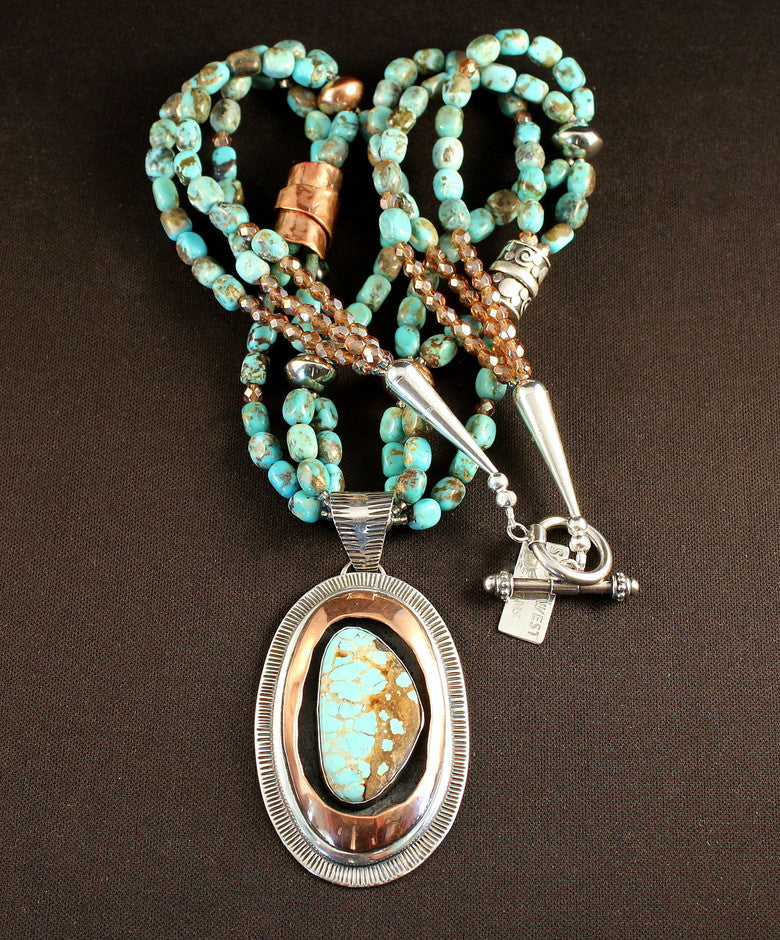 Number Eight Turquoise, Sterling and Copper Pendant with 3 Strands of Turquoise Cubes