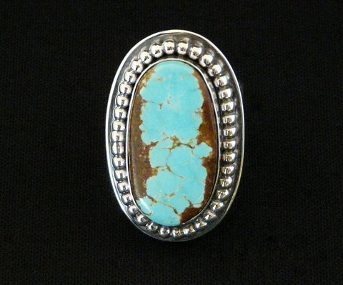 Number Eight Turquoise and Sterling Silver Band Ring