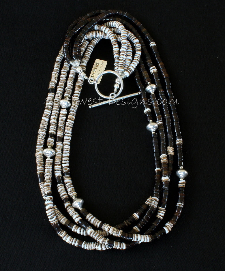 Olive Shell & Pen Shell Heishi Blended 4-Strand Necklace with Sterling Silver Urn Beads and Sterling Toggle Clasp