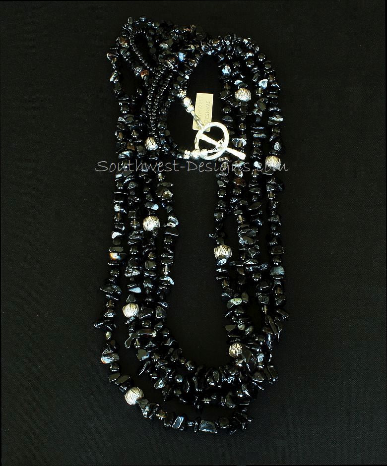Black Onyx 4-Strand Necklace with Smoky Quartz, Czech Nailheads and Sterling Silver