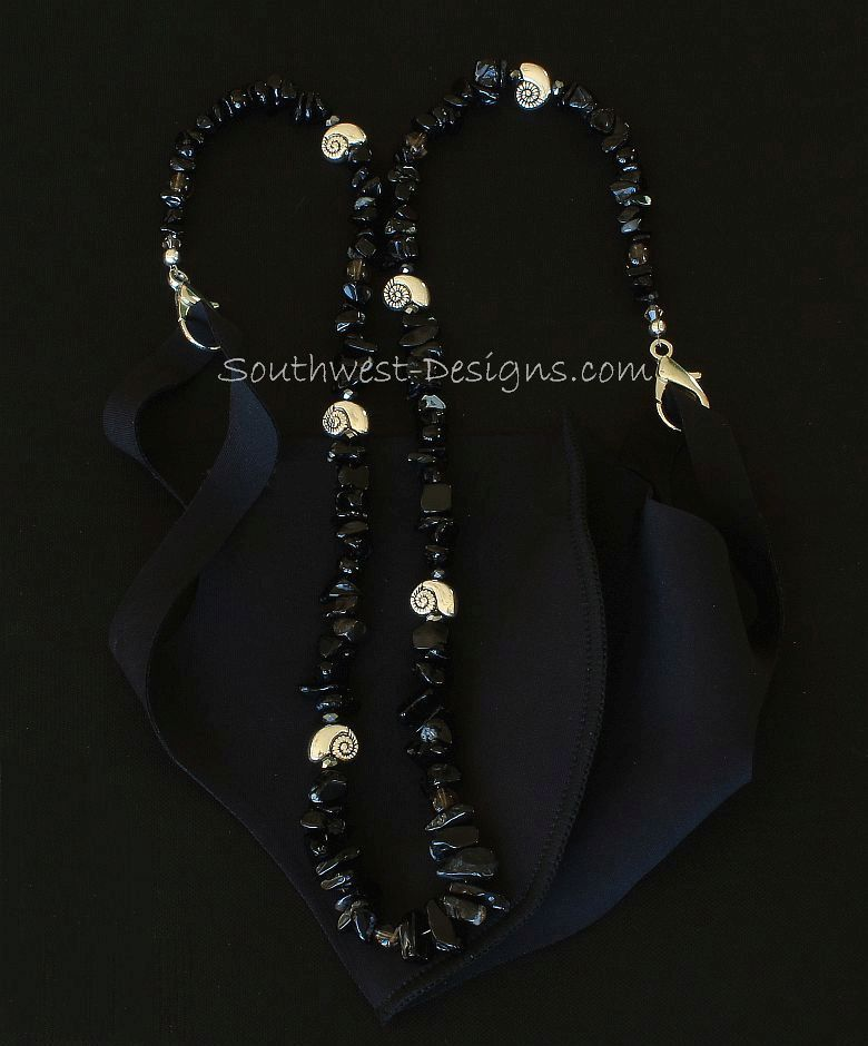 Black Onyx Chip Mask Lanyard with Smoky Quartz and Silver Nautilus Beads