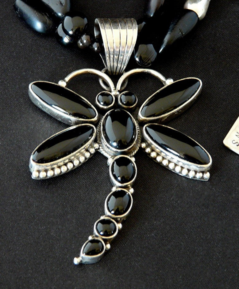 Onyx and Sterling Silver Dragonfly Pendant with Black Amber and Sterling