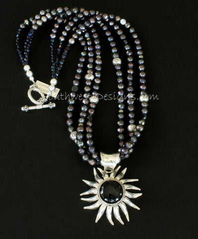 Onyx & Sterling Silver Sunflower with 3 Strands of Black Faceted Pearls, Czechoslovakian Nailheads and Sterling Silver