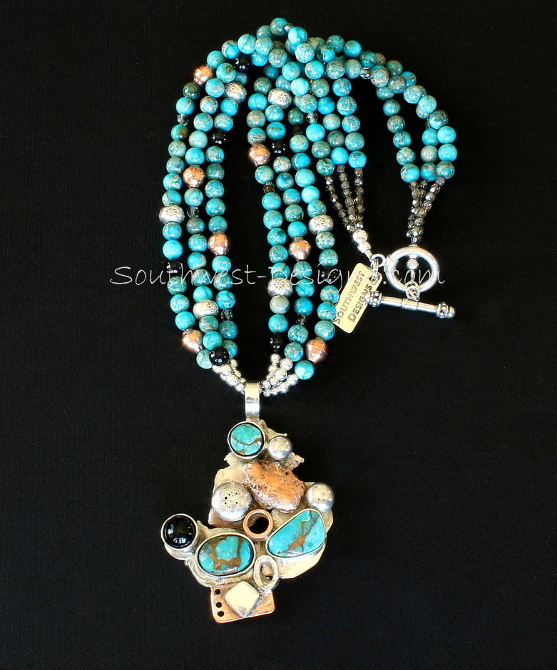 Turquoise, Onyx, Sterling Silver & Copper Art Pendant with 3 Strands of Imperial Jasper