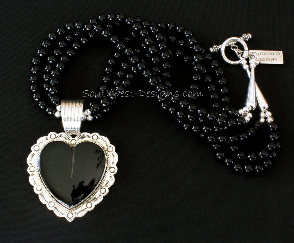 Onyx and Sterling Silver Heart Pendant with 3 Strands of Onyx Rounds and Sterling