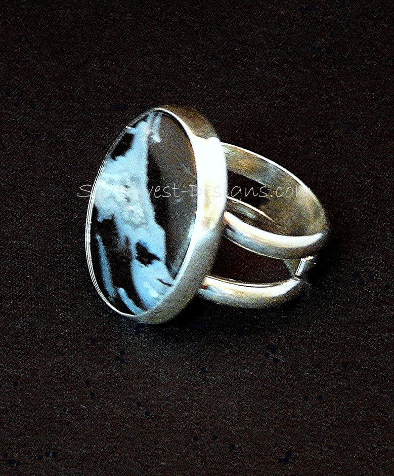 Oregon Petrified Wood and Sterling Silver Band Ring