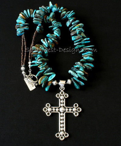 Ornate Sterling Silver Cross with Turquoise Briolette, Olive Shell Heishi and Sterling Silver
