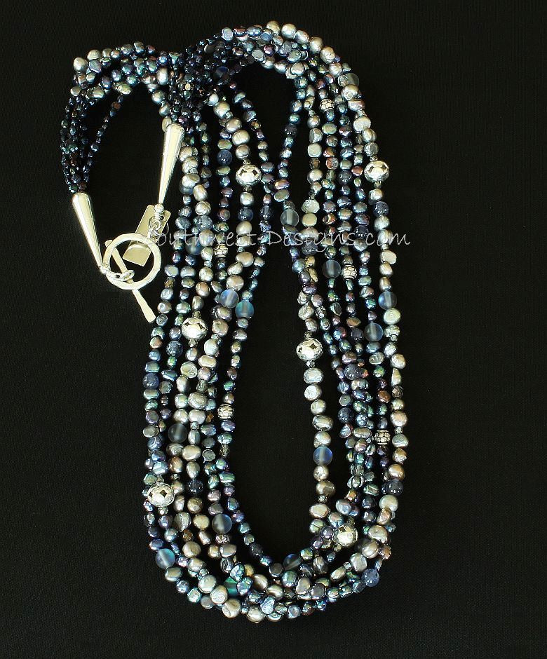 Peacock Blue and Silver Pearl 6-Strand Necklace with Iolite and Sterling Silver