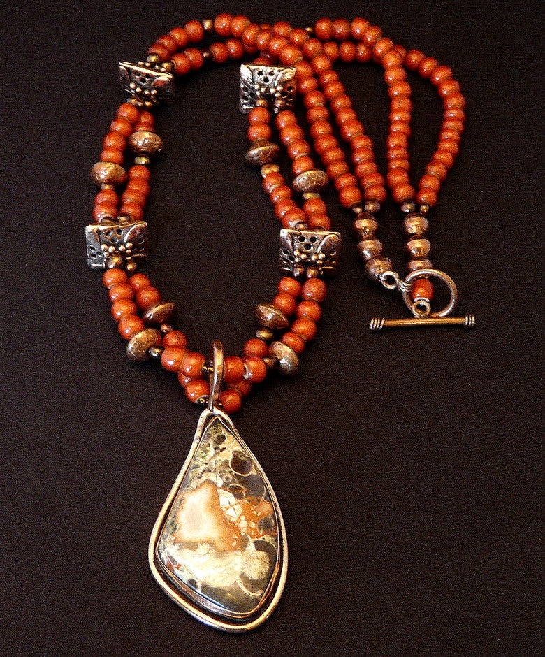 Peacock Jasper and Copper Pendant with White Heart Beads, Pearls & Copper