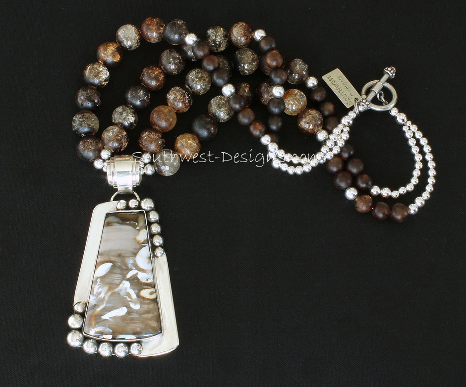 Peanut Wood and Sterling Silver Pendant with Amber Quartz Rounds and Sterling