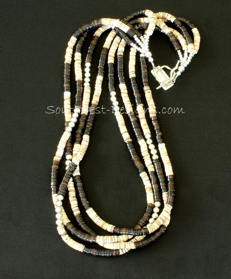 Olive Shell Heishi & Pen Shell Heishi 4-Strand Necklace with Sterling Silver Rounds and Toggle Clasp