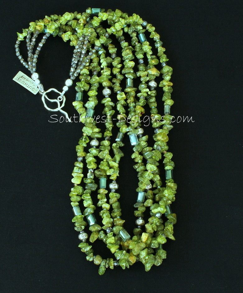 Peridot Chip 4-Strand Necklace with Crystal, Fire Polished Glass and Sterling Silver