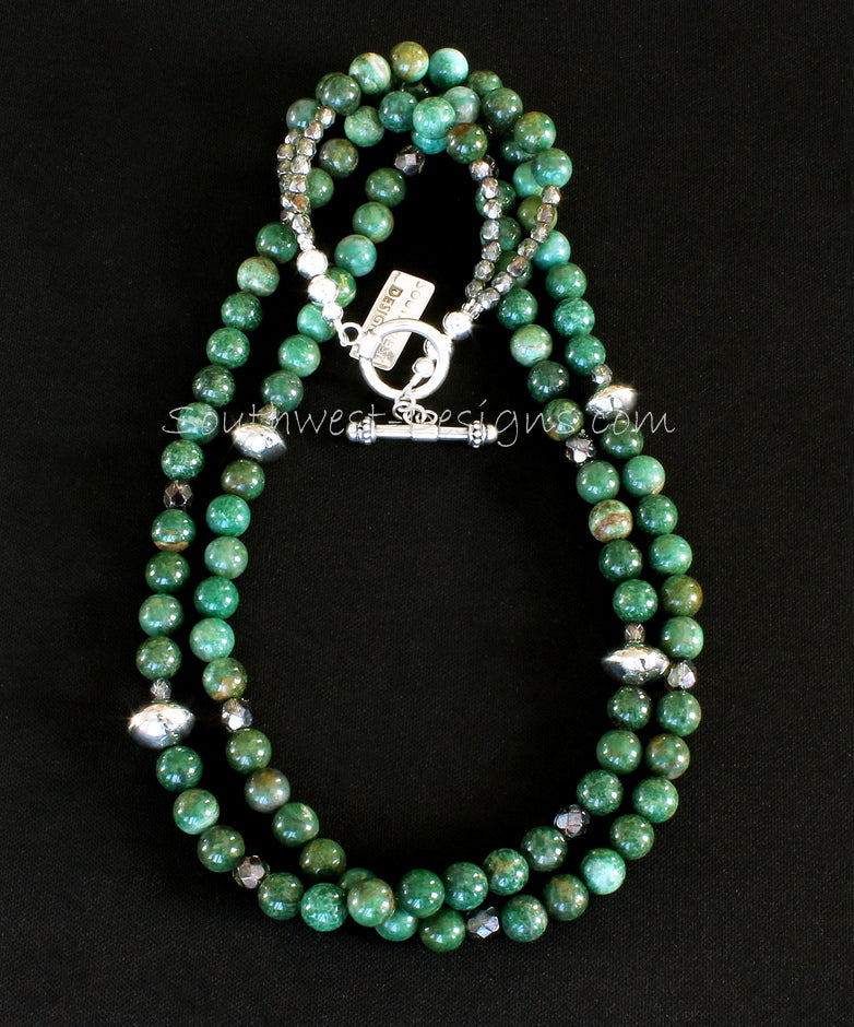 Peruvian Jade 2-Strand Necklace with Translucent Green Fire Polished Glass and Sterling Silver Rondelle Beads and Toggle Clasp