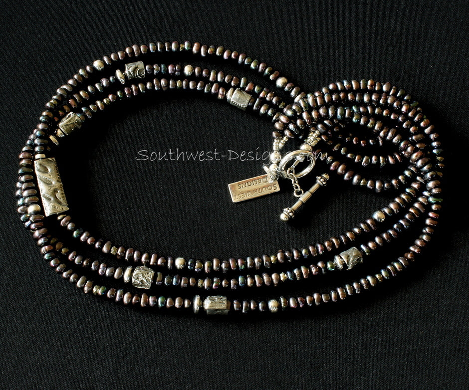 Pewter-Black Pearl 3-Strand Necklace with Mojo Cylinders, Oxidized Sterling Silver Rounds and Sterling Toggle Clasp