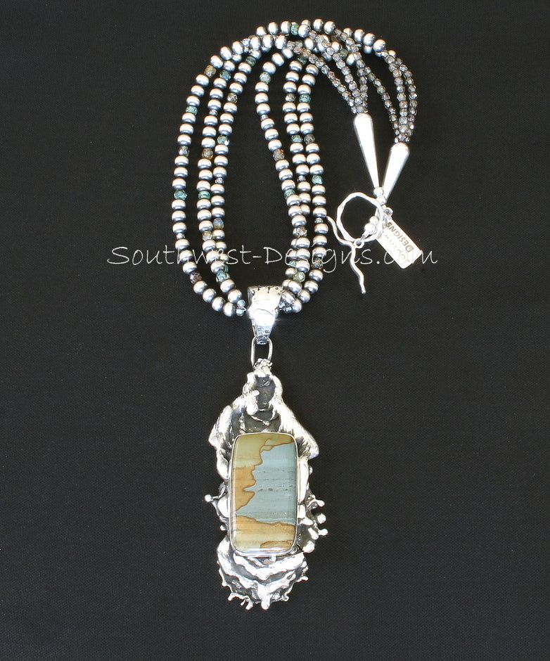 Picture Jasper & Reticulated Silver Necklace with 3 Strands of Oxidized Sterling Rounds, Fire Polished Glass & Sterling